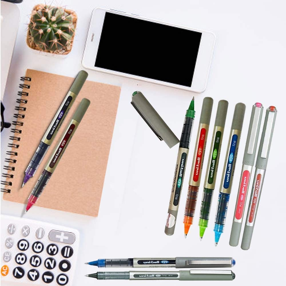 Uni-Ball EYE UB-157 Rollerball Pen 0.7mm Ball [Pack of 10] One of each colour: Office Products