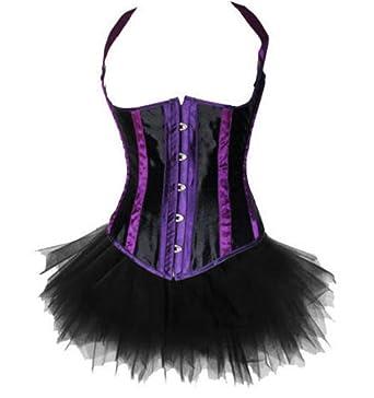 6a424e5406 VDONA Plus Size Sexy Lingerie Underbust Halter Corset TOP   Fluffy Tutu  Skirt Set Outfit Party