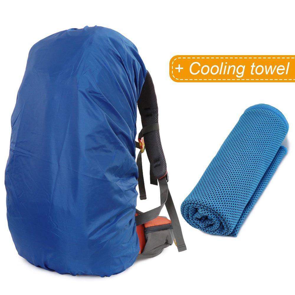 MECOC 超軽量 バックパック レインカバー 冷却タオル 携帯電話 防水ケース 3色展開 15-90L キャンプ ハイキング サイクリング 防水ケース iPhone 6S 6 S7 Edge S7 最大6インチ   B07CZXXRWF