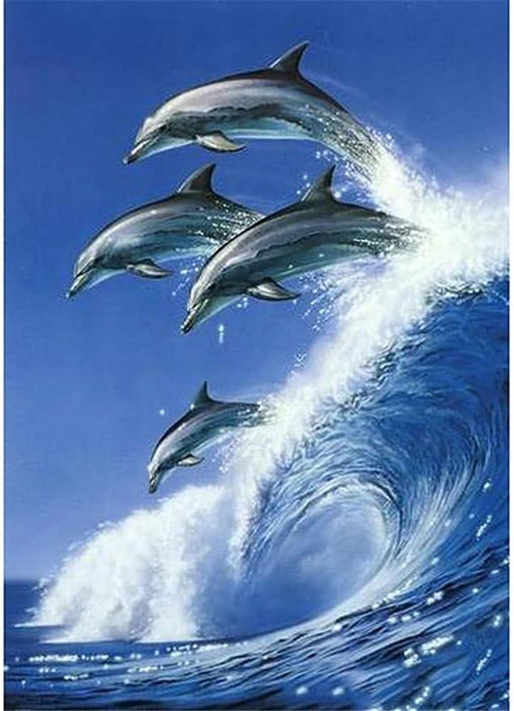 Kit de Pintura de Diamante Infantil Grande Talla Taladro Completo Diamond Painting Saltos de delfines 60x90cm/24x36in Taladro Cuadrado Bordado de Punto de Cruzsanía Casa Decoración de La Pared A4092