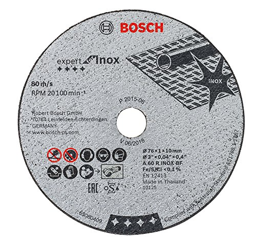 Bosch 2608601520&Nbsp;Expert Abrasive Disc For Stainless Steel (French A60R&Nbsp;Grade) 76&Nbsp;Mm X 1Mm X 10Mm