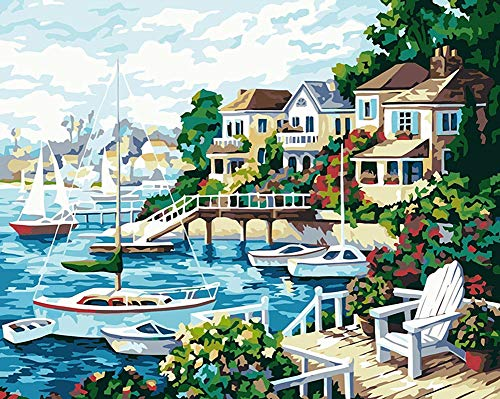 YEESAM ART DIY Paint by Numbers for Adults Beginner Kids, Ship Harbor Seaside Scenery 16x20 inch Linen Canvas Acrylic Stress Less Number Painting Gifts (Harbor, Without Frame)