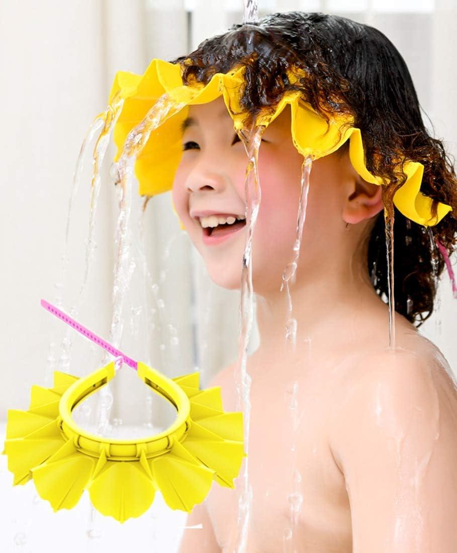 Gorro de ducha para beb/é HapiLeap silicona suave ni/ños y ni/ños seguro para el ba/ño y el cabello impermeable para beb/és gorro de ducha rosa rosa