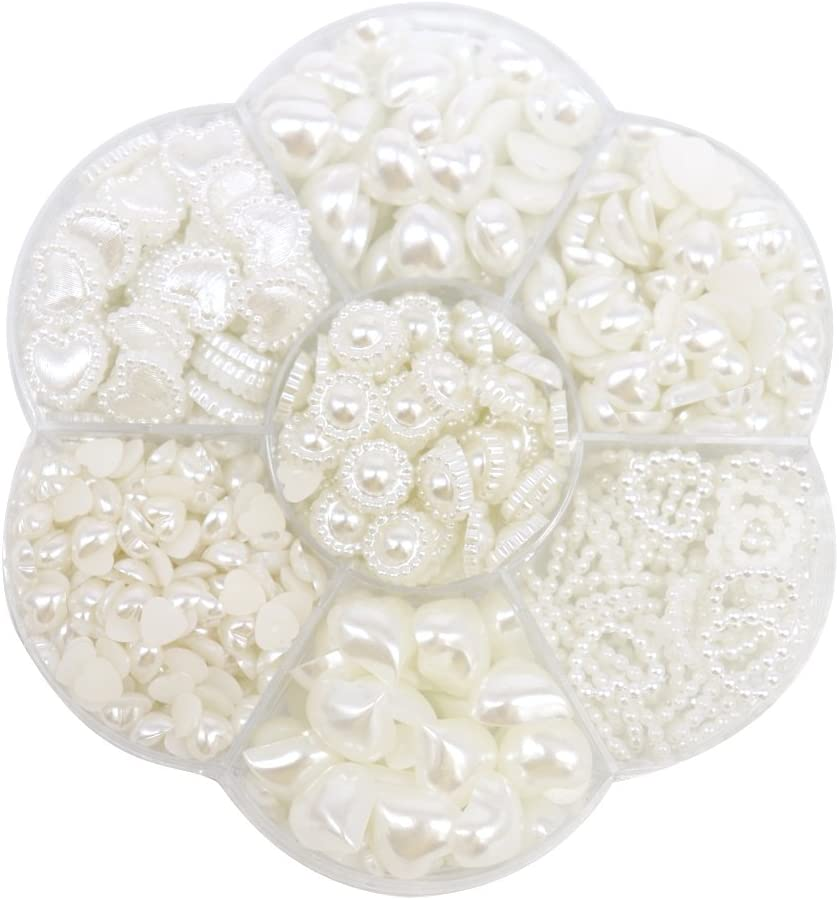 12mm Ivory flower flat back pearl headband centers DIY scrapbooking 25 pcs