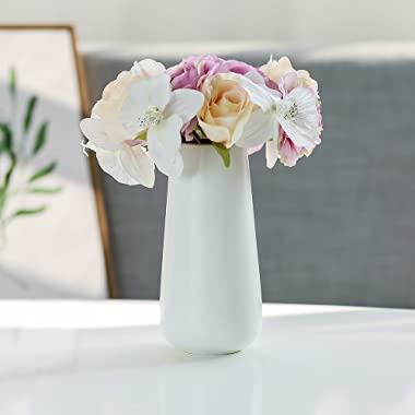 D'vine Dev 8 Inch Matte White Ceramic Flower Vases - Home Decor and Table Centerpieces Vase - Gift Box Packaged