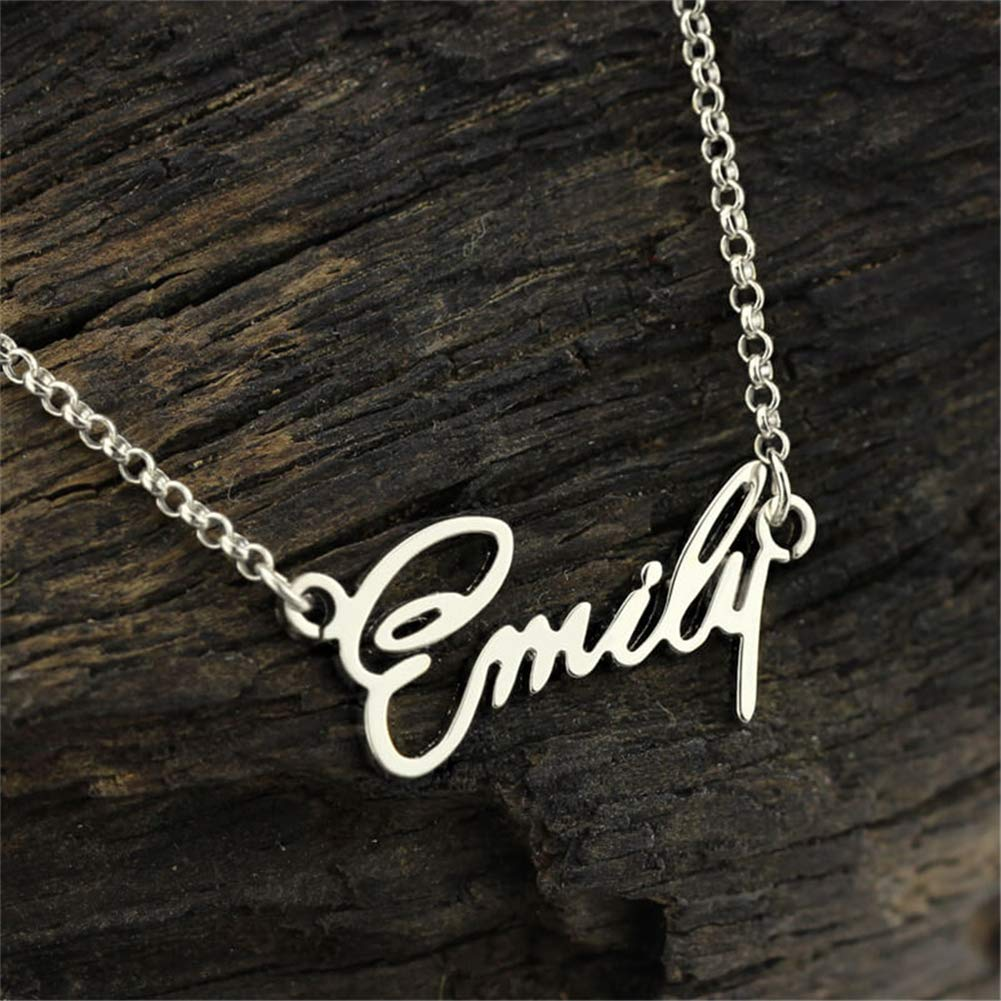 SADNESS N Custom Name Necklace Personalized Initial Necklaces in Silver