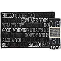 Jozie B Hello World Travel Stripe Black 36 x 24 All Cotton Rectangular Indoor Floor Rug
