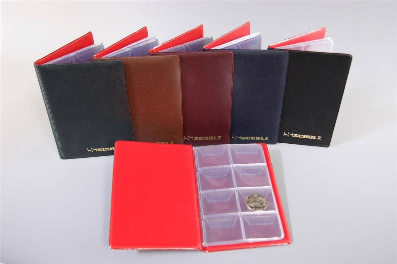 Schulz SMALL BURGUNDY ALBUM FOR 64 COINS UP TO 30mm