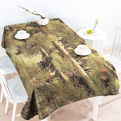 (Jinguizi Oil-Proof Spill-Proof Pinecones Tree Realtree Spring Summer Themefor Party/Picnic Tablecloth(60 by 90 Inch Oblong Rectangular))