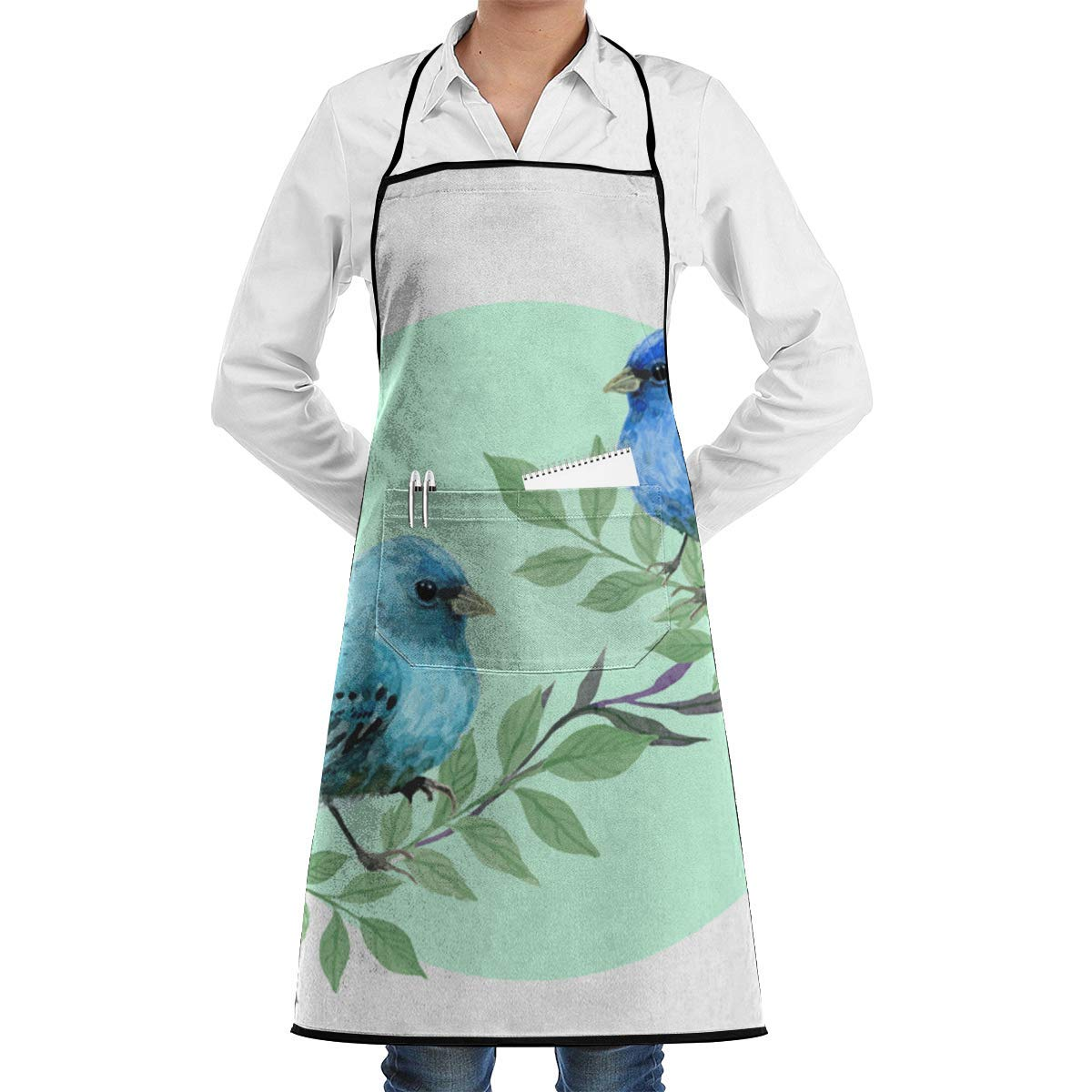 Cute Watercolor Blue Bird Aprons Bib for Mens Womens Hairstylist String Adjustable Adult Kitchen Waiter Aprons with Pockets