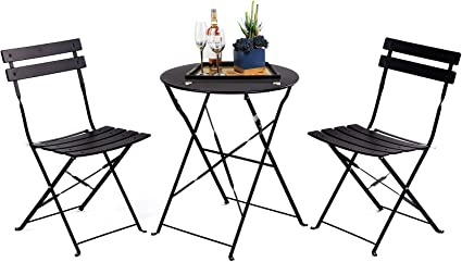 Grand Patio 3pc Metal Folding Bistro Set 2 Chairs And 1 Table Weather Resistant Outdoor Indoor Conversation Set For Patio Yard Garden Black Garden Outdoor