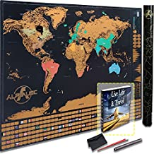 """Scratch Off World Map - """"Glossy Black Edition"""" w Outlined Canadian Provinces & US States - 5 PCS Bundle Ultimate Travel Deluxe Size + FREE Erasable Silver Pen + E-book & More -Remember and Share your Adventures by Scratching off Destinations"""