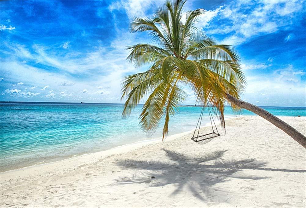 Yeele 10x8フィート 海辺 ビーチ 背景 写真撮影用 ヤシの木 ホリデー 旅行 背景 トロピカル 海 子供 大人 写真ブース 撮影 ビニール スタジオ 小道具   B07KVFJ2L3