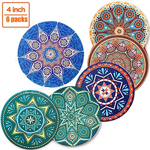 - Absorbent Drink Coasters - Ceramic Absorbing Stone Coasters with Cork Base - 6 Packs Bohemia Style Desk Absorbant Cup/Mug Mats - Perfect Housewarming Gifts/Home Decor