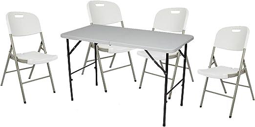 Tool País Muebles de Jardín Set Color Blanco, Plegable Mesa + 4 sillas, Ideal para Camping y jardín, Perel: Amazon.es: Jardín