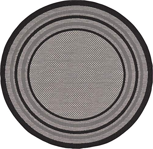 Black Transitional Round Rug - Unique Loom Outdoor Border Collection Solid Casual Transitional Indoor and Outdoor Flatweave Gray  Round Rug (6' 0 x 6' 0)