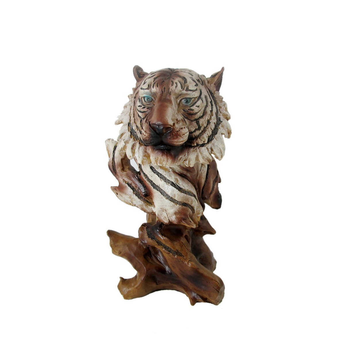 Animal Wildlife Collection Faux Wood White Tiger Head Bust