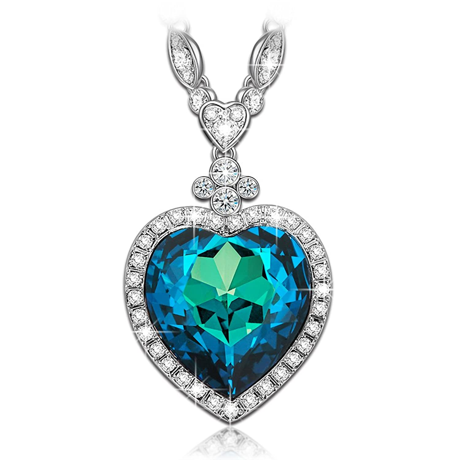 Amazon ladycolour valentines day gifts necklace heart of amazon ladycolour valentines day gifts necklace heart of ocean swarovski crystals necklace sapphire pendant jewelry for women birthday gifts for women aloadofball Image collections