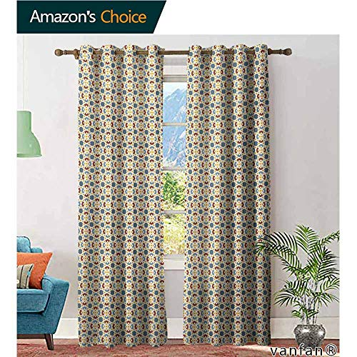 (Custom Design Window Curtain Panel,TraditionalOld Fashioned Ottoman Arabesque Moroccan Star Antique Middle Eastern Motif,for Living/Bedroom Room/Patio Door,Multicolor,W120 xL96)