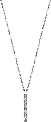 collier argent avec pendentif noir