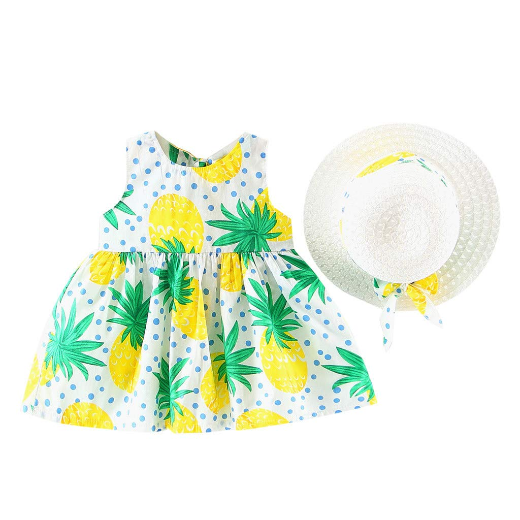 Toddler Girl Dress,Toddler Baby Kids Girls Summer Fruit Princess Dresses Hat Casual Outfits Set,Pet Supplies,Yellow,18-24M
