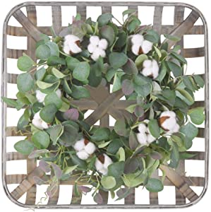 """20"""" Farmhouse Fall Wreath for Front Door with Square Tobacco Basket , Cotton,Green Eucalyptus Leaves, Large Indoor Outdoor Harvest Door Wreath for Fall Autumn and Thanksgiving Decorations"""