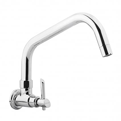 Hindware F110026CP Sink Cock with Extended Swivel Spout (Wall Mounted) (Immacula) with Chrome Finish