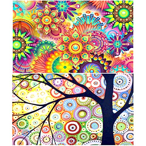 2 Packs Full Drill 5D DIY Diamond Painting by Number Kits, Asylove Round Crystal Rhinestone Embroidery Cross Stitch - Colorful Wishing Tree & Flowers, Home Wall Decor Living Room 10X14 inches