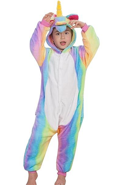 4bde53c097 Animal Onesie Pajamas Unicorn Kigurumi Cosplay Costume Cute Sleepwear  (120(Suggested Height 43-47)