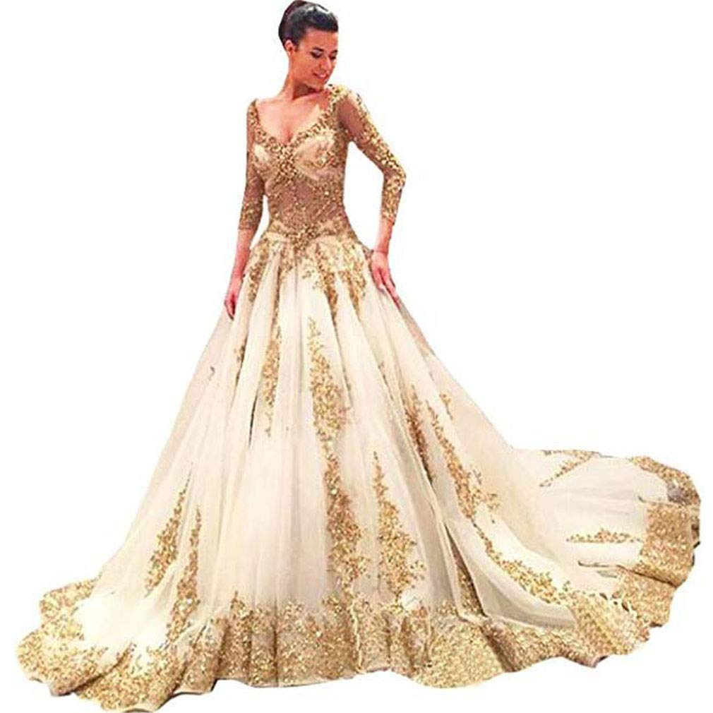 Fashionbride Womens Bridal Gown With Gold Lace Long Sleeve Wedding
