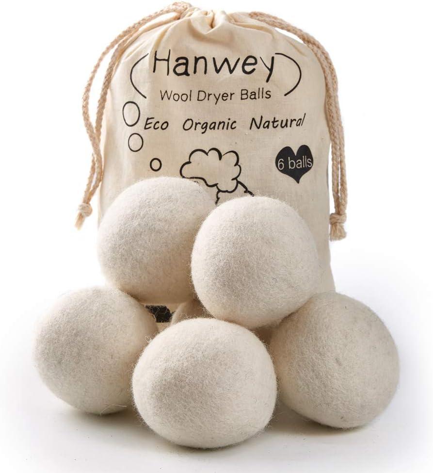 Bolas de secadora de lana, Bolas de secadora hipoalergénicas, Reutilizable, Secado más rápido, Reducción estática y Suavizante de telas naturales Paquete de 6 XL