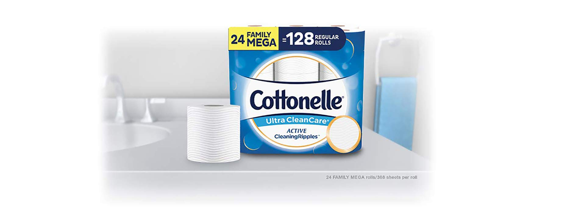Cottonelle Ultra CleanCare Toilet Paper with Active CleaningRipples, Strong Biodegradable Bath Tissue, Septic-Safe, 24 Family Mega Rolls by Cottonelle (Image #2)