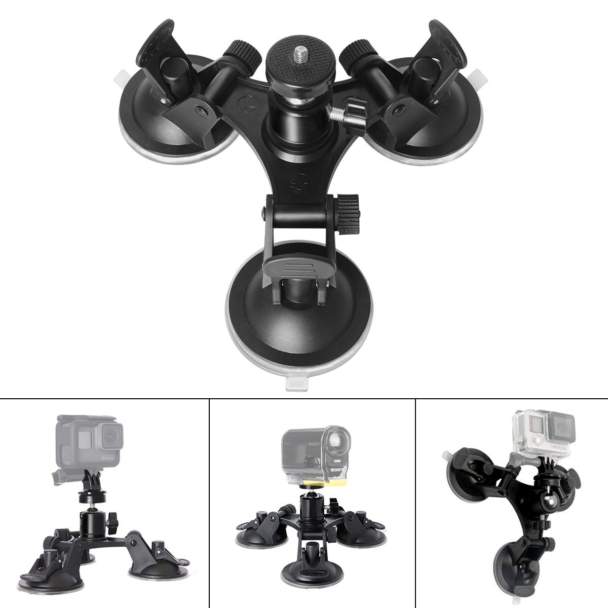Triple Cup DSLR Camera Suction Mount w/Ball Head Compatible with Nikon Canon Sony DSLR/Camcorder + GoPro Hero 6 5/4/3 Sony Garmin Xiaomi Yi SJCAM Suction Cup Mount Car Mount Holder Window Mount