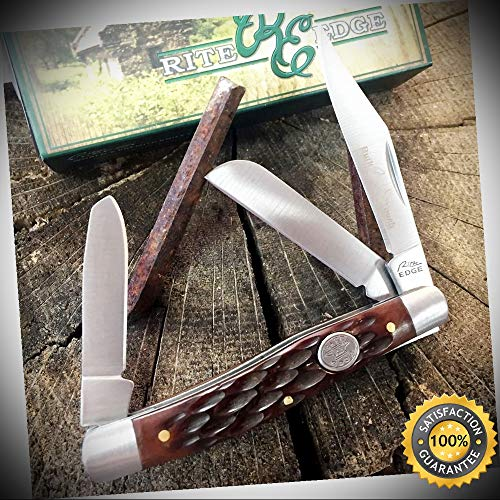 RITE EDGE 3 Blade Grand Dad's Stockman Pocket Knife Jigged Bone Handle 210574-BX - Outdoor For Camping Hunting Cosplay