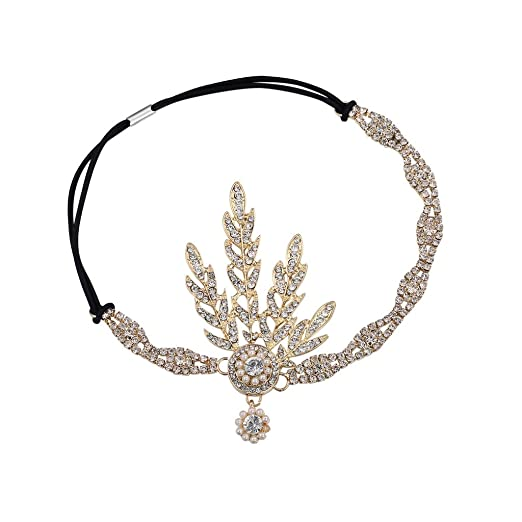 1920s Costumes: Flapper, Great Gatsby, Gangster Girl  1920s Flapper Great Gatsby Inspired Leaf Medallion Pearl Headpiece Headband Golden $13.99 AT vintagedancer.com