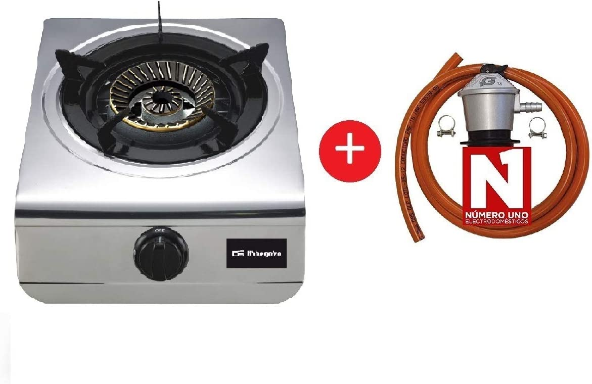 ElectrodomesticosN1 Pack Hornillo a Gas Orbegozo fo 1700 INOX, 1 Fuegos + Regulador de Gas butano HVG, Tubo Manguera 0, 8 Metros, Abrazaderas: Amazon.es: Jardín