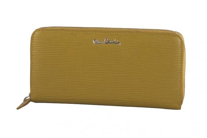 cartera mujer PIERRE CARDIN mostaza en cuero compacto con abertura zip: Amazon.es: Ropa y accesorios