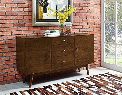 New 60 Inch Wide Mid-Century Modern Television Stand in Walnut Finish by Home Accent Furnishings