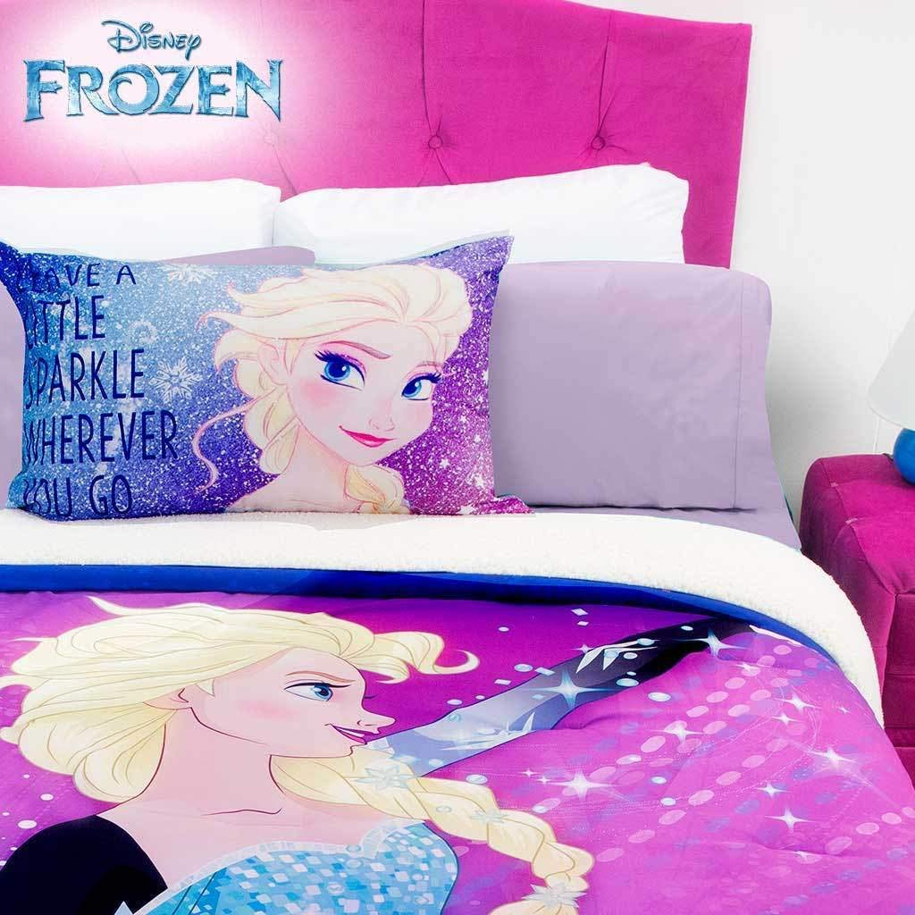 JORGE'S HOME FASHION INC Frozen Disney Original License Comforter with Sherpa and Sheet Set 6 PCS Queen Size