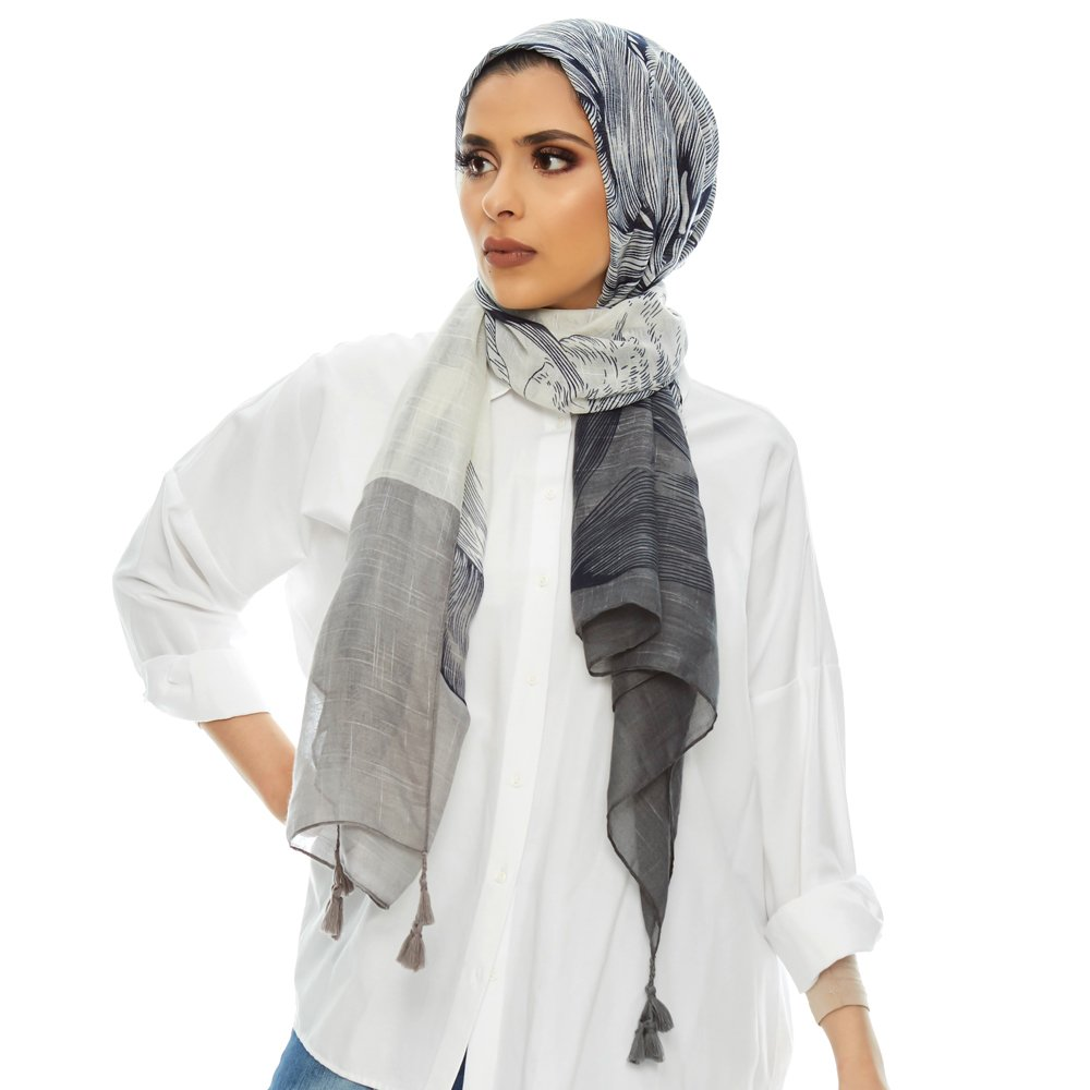 Bohemian Garden Scarf for Women | Lightweight Head Wrap | Cotton Printed Scarves (Black)