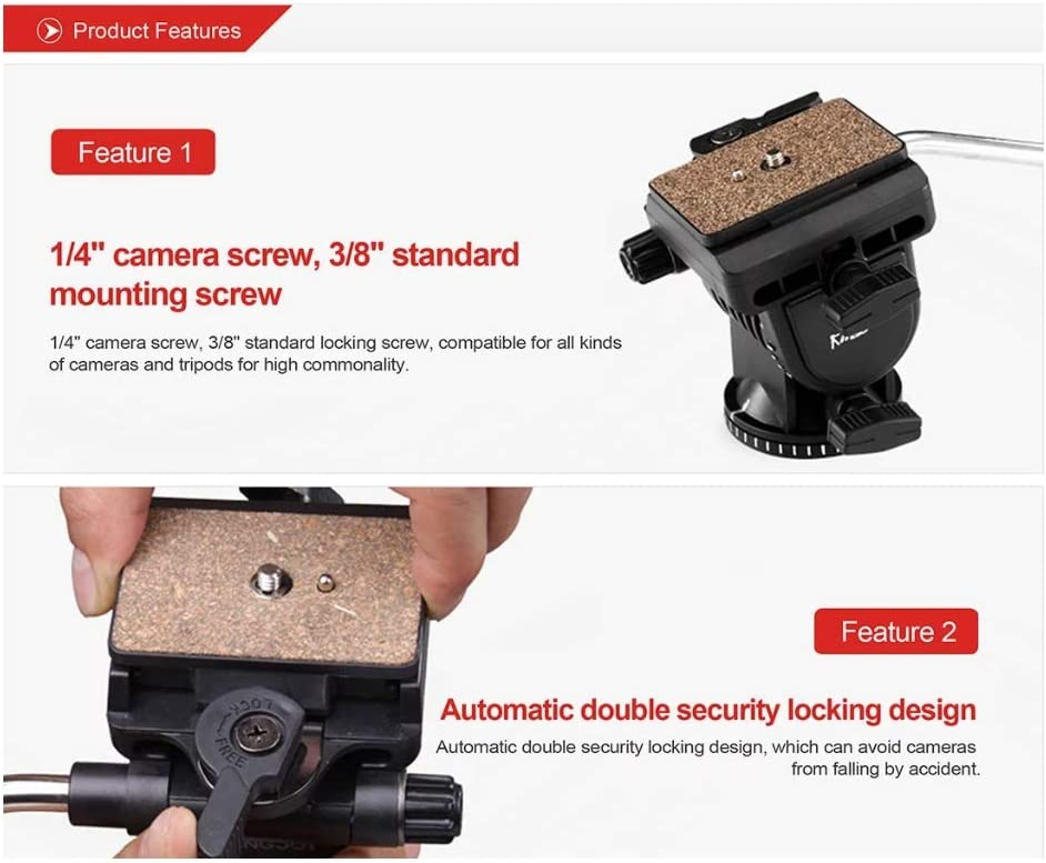 360/° Rotating Platform Suitable for SLR and Recorder WSJ Camera Tripod Lightweight Professional Frame Up to 1560mm Hydraulic Damping Head