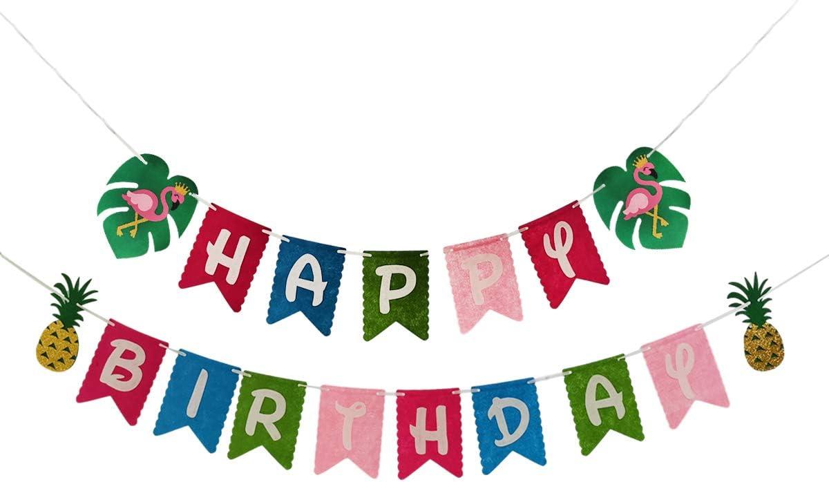 Flamingo Pineapple Happy Birthday Banner, Hawaiian Birthday Party Decorations, Hawaiian Luau Beach Summer Jungle Theme Party Supplies