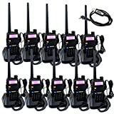 Retevis RT-5R 2 Way Radio 5W 128CH VHF/UHF 136-174/400-520 MHz Walkie Talkie(10 Pack) and Programming Cable