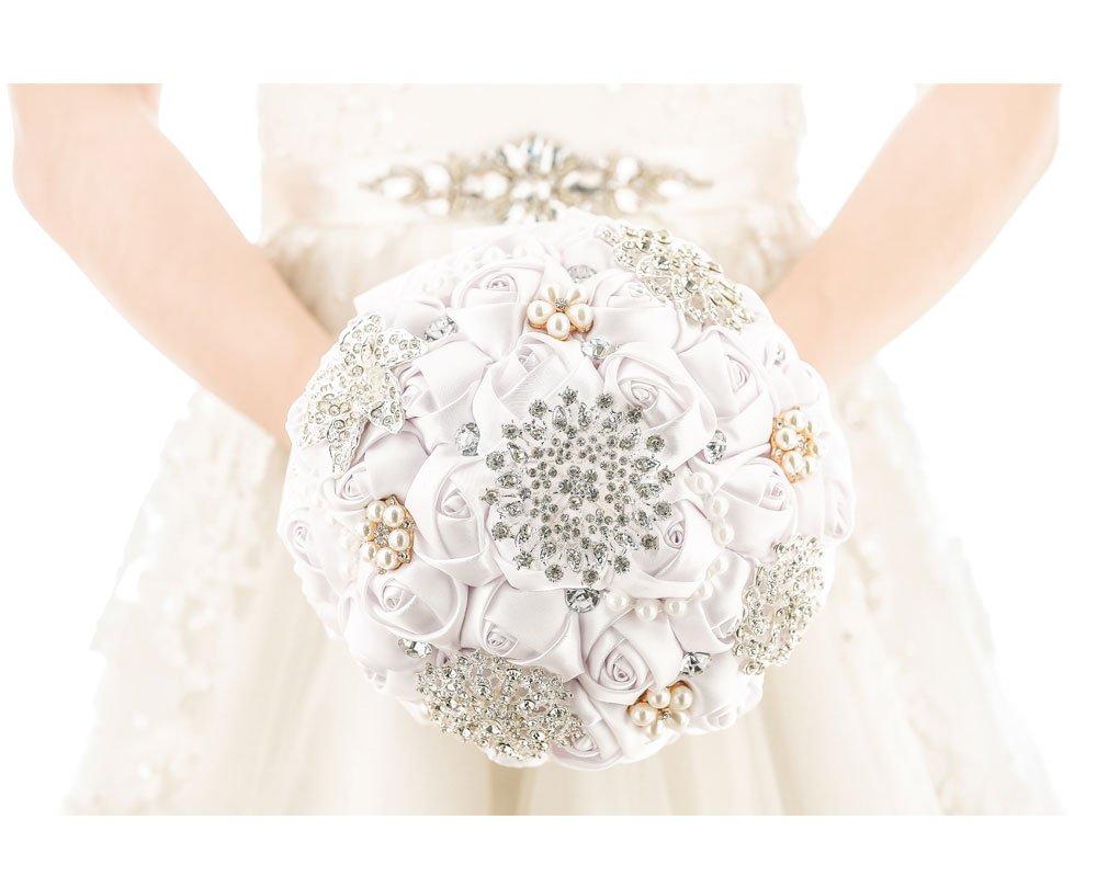 [My Darling]ウェディングブーケ 高度なカスタマイズ ロマンティック バラ 選べる色 a20.69 bouquet-white B01HXLIHGW ホワイト