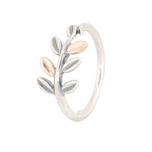 01c1d323d55da 190920-48 Pandora Silver & 14K Gold Laurel Leaves Ring - Size 4.5-5 ...