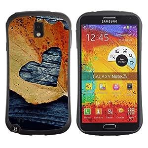 LASTONE PHONE CASE / Suave Silicona Caso Carcasa de Caucho Funda para Samsung Note 3 N9000 N9002 N9005 / Leaf Autumn Black Love Deeo