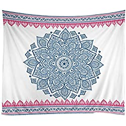 Adarl Psychedelic Mandala Style Hanging Wall Tapestries Square Hippy Boho Gypsy Full-Polyester Tapestry Table Cover Bedspread Beach Towel Tapestry B1