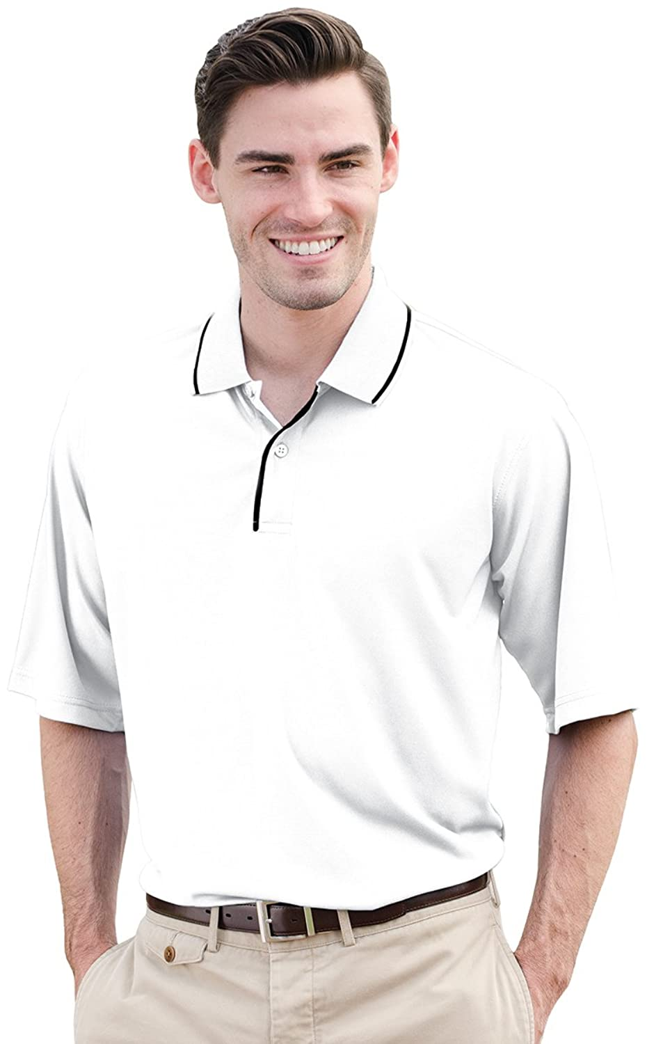 Whispering Pines Sportwear Men's Striped Collar Polo Shirt, WHITE/NAVY, X-Small
