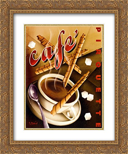 (Cafe Pirouette 2X Matted 16x19 Gold Ornate Framed Art Print by Michael)