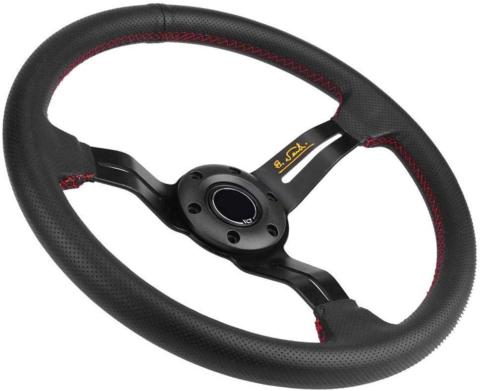 Red 350mm 14in Steering Wheel Universal Aluminum Frame Black Perforated Leather Car Steering Wheel W// Horn